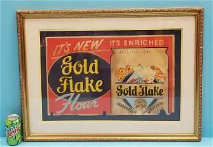 RARE Golden Flake Flour Cardboard Sign
