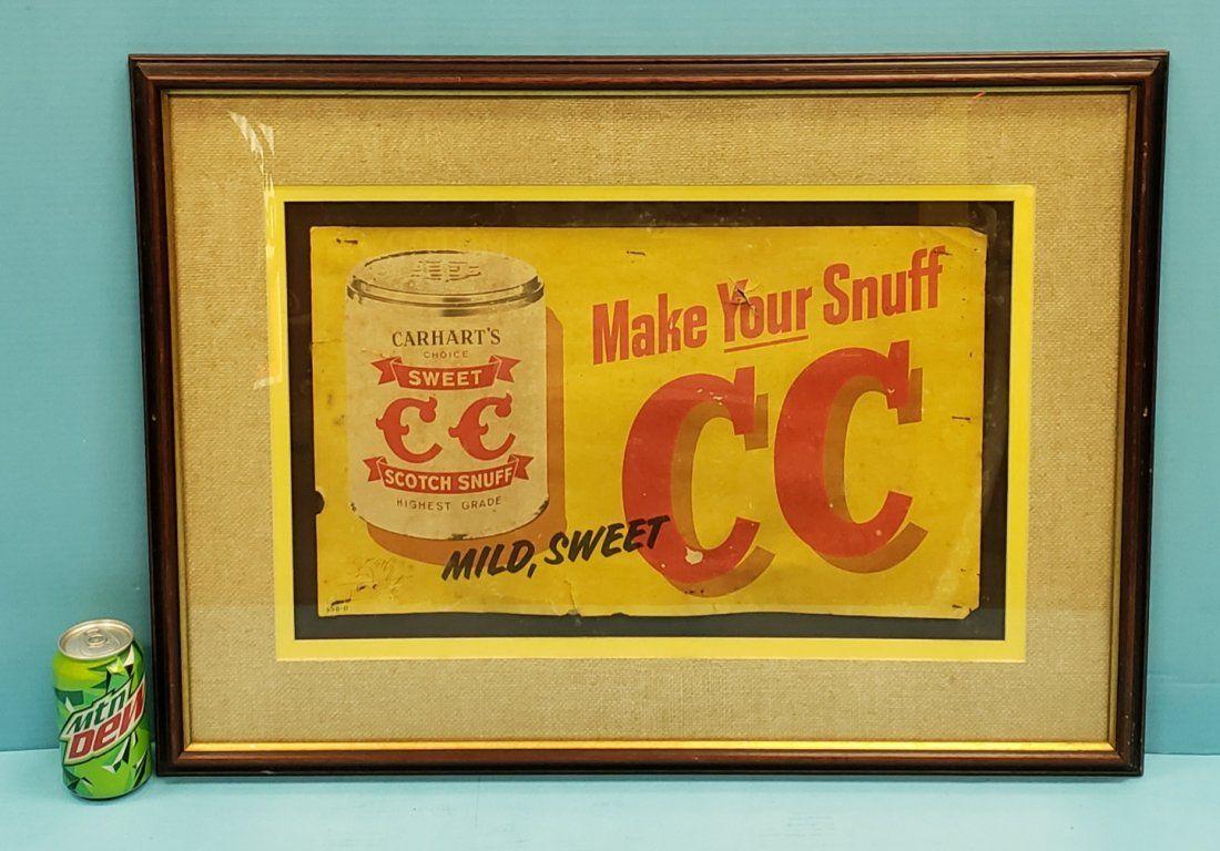 Scarce Carhart's Sweet CC Scotch Snuff Cardboard Sign