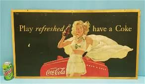 1948 Coca Cola Pinup Girl Cardboard Sign