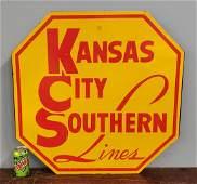 Heavy Kansas City Southern Lines Railroad Sign