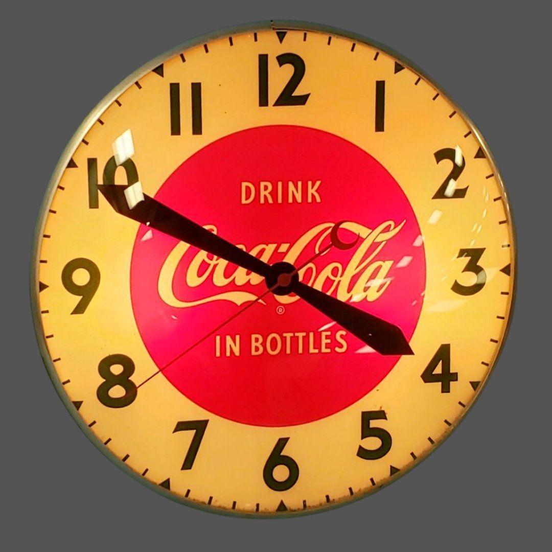 Drink Coca Cola in Bottles Round Light Up Swihart Clock