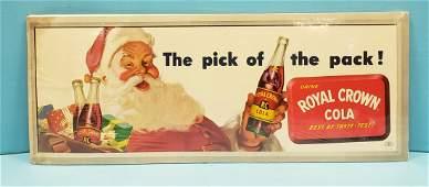 Royal Crown Cola Santa Cardboard Sign