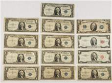 Silver Certificate $10, $1, Red Seal $2