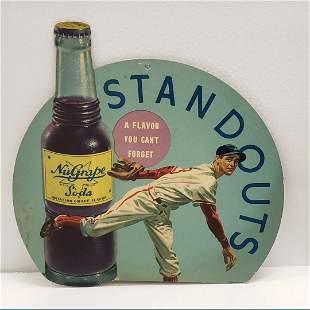 NuGrape Soda Standouts Baseball Player Cardboard Sign