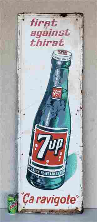 7up First Against Thirst Embossed Tin Sign