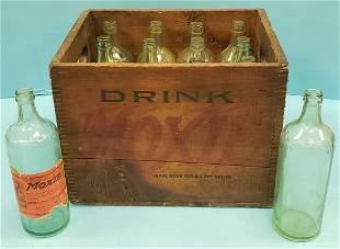 Drink Moxie Wood Crate w/ 12 Embossed Bottles