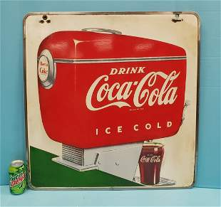 Coca Cola Porcelain Fountain Dispenser Sign