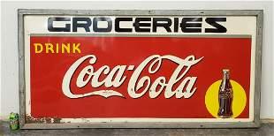 1940 Drink Coca Cola Groceries Framed Tin Sign