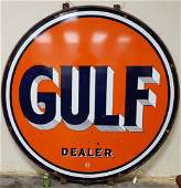 Double Sided Porcelain Gulf Dealer Sign w/ Ring