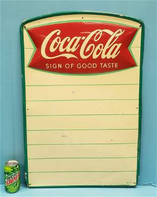 Coca Cola Sign of Good Taste  Fishtail Menu Board