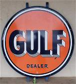 """66"""" Gulf Double Sided Porcelain Dealer Sign w/ Ring"""