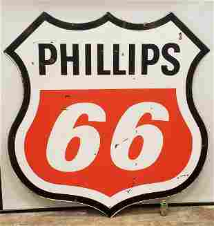 "70"" Phillips 66 Double sided porcelain sign"