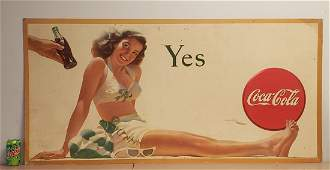 1946 Coca Cola Yes Cardboard Sign w Pin-up Girl