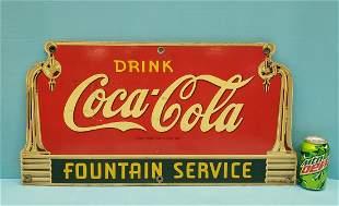 1940's Drink Coca Cola Fountain Service Sign