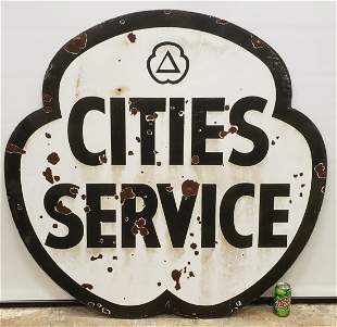 Cities Service Porcelain Sign Double Sided