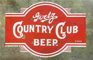 Goetz Country Club Beer Porcelain Neon Sign