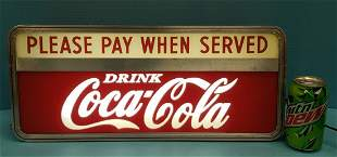 Coca Cola Please Pay When Served Light Up Counter  Sign