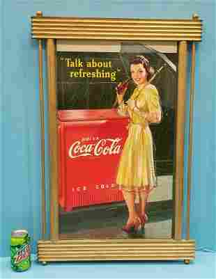1942 Coca Cola Pin-Up Girl Cardboard Sign & Frame