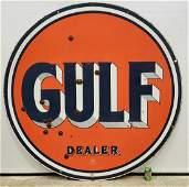 "66"" Gulf Double Sided Porcelain Dealer Sign"