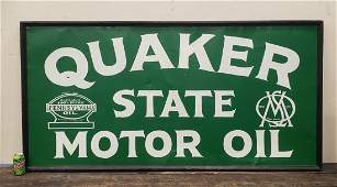 Repainted Quaker State Motor Oil Framed Tin Sign