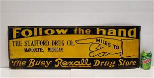 Rexall Drug Store Follow The Hand Early Tin Sign