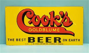 Cook's Beer Embossed Tin Sign