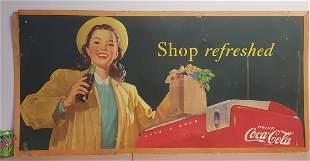 Large 1948 Coca Cola Pinup Girl Cardboard Sign