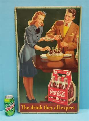 1942 Coca Cola Cardboard Sign The Drink They All Expect