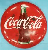 """36"""" Drink Coca Cola Porcelain Button Sign"""
