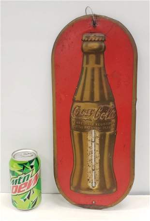 1937 Coca Cola Thermometer w/ Embossed Christmas Bottle