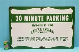 Little Tavern Shops Porcelain Parking Sign