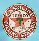 Porcelain Texaco Gasoline Filling Station Sign