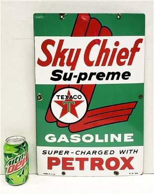Porcelain Texaco Sky Chief Su-Preme Gas Pump plate