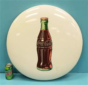 White Coca Cola Porcelain Button Sign (Restored)