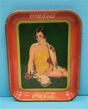 1929 Coca Cola Tray with Swimming Suit Pin-up Girl
