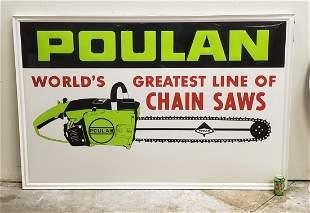 Large Poulan Chain Saw Embossed Sign