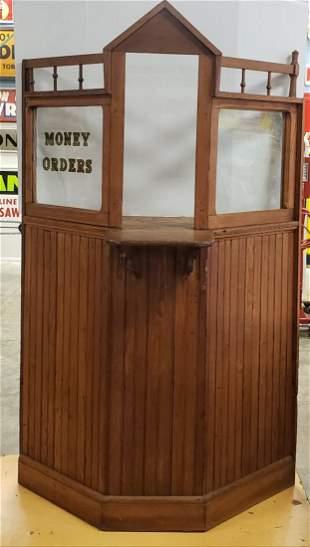 Antique Wood Bank Teller Window / Booth