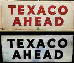 Large Texaco Ahead Smaltz Reflective Sign