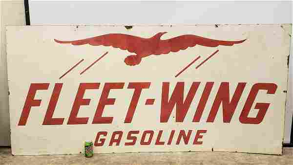 Fleet Wing Gasoline Double Sided Porcelain Sign