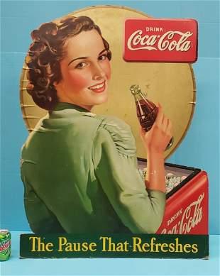 1940 Large Drink Coca Cola Cardboard Window Display