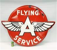 Flying A Service Embossed Porcelain Sign