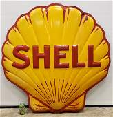 Shell Embossed Porcelain Service Station Sign