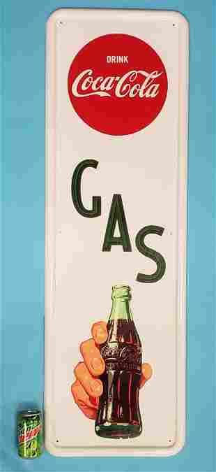 RARE 1950's NOS Coca Cola GAS Vertical Sign