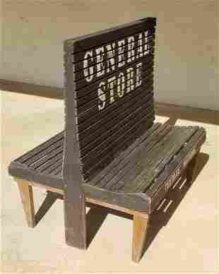 Double Sided General Store Slat Wood Bench