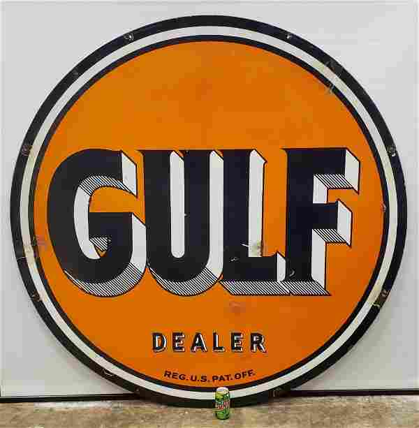 Double Sided Porcelain Gulf Dealer Sign