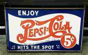 Double Sided Pepsi Cola Porcelain Sign w/ Bracket