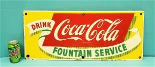 Drink Coca Cola Fountain Service Porcelain Sign