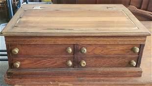 J & P Coats Wood Spool Cabinet