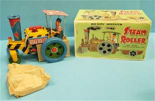 Battery Operated Steam Roller w/ Trailer & Box