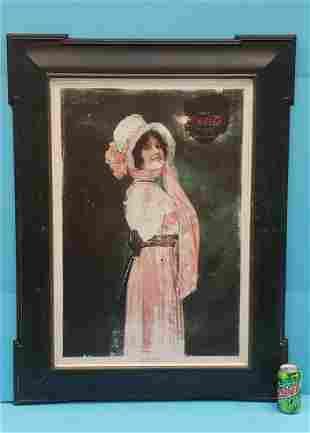1914 Coca Cola Self Framed Tin Betty Sign